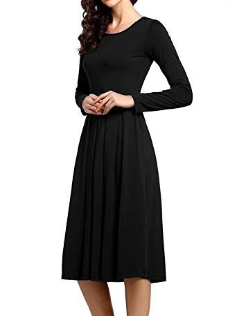 Chic Beluring Womens Midi Dress with Sleeves Pleated Cotton Pockets Dresses  online.   23.99  allnewtrendy from top store bbe222eb20