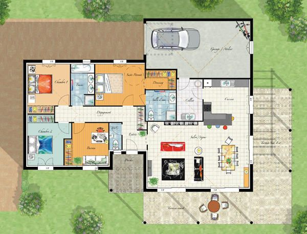 Modele maison villa thalia cgie plans maisons for Exemple plan de maison plain pied
