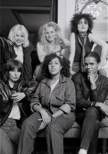 A group portrait of female punk and new wave musicians in London, August 1980, L-R (back) Debbie Harry of Blondie, Viv Albertine of The Slits, Siouxsie Sioux of Siouxsie And The Banshees, (Front) Chrissie Hynde of The Pretenders, Poly Styrene of X-Ray Spex, and Pauline Black of The Selecter. (Photo by Michael Putland/Getty Images)