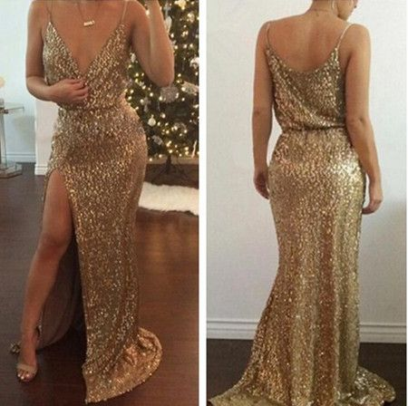 Gold Sequined Party Dress Evening Dress Prom Dress