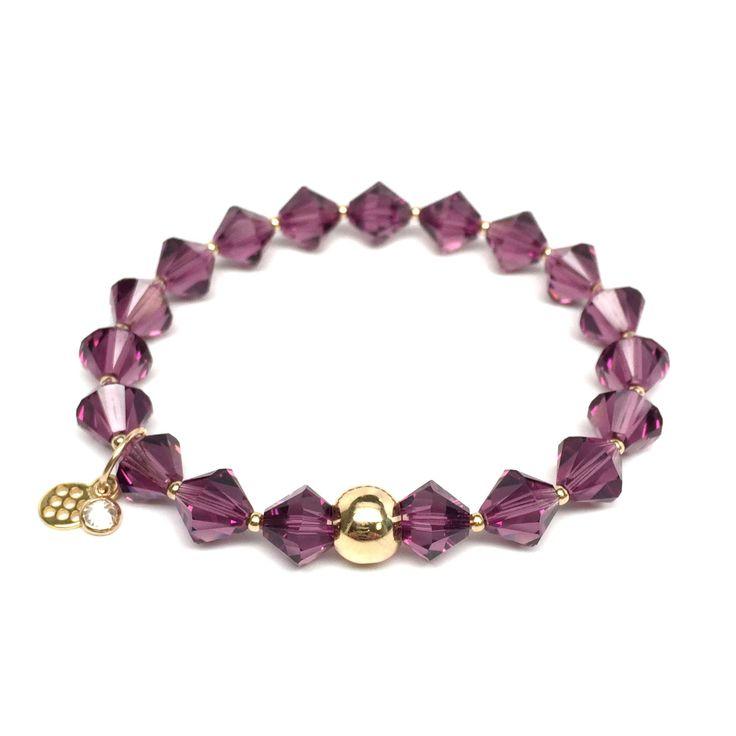 Julieta Jewelry February Birthstone Color, Amethyst 'Rachel' Stretch Bracelet, Swarovski Crystal 14k over Sterling Silver, Women's