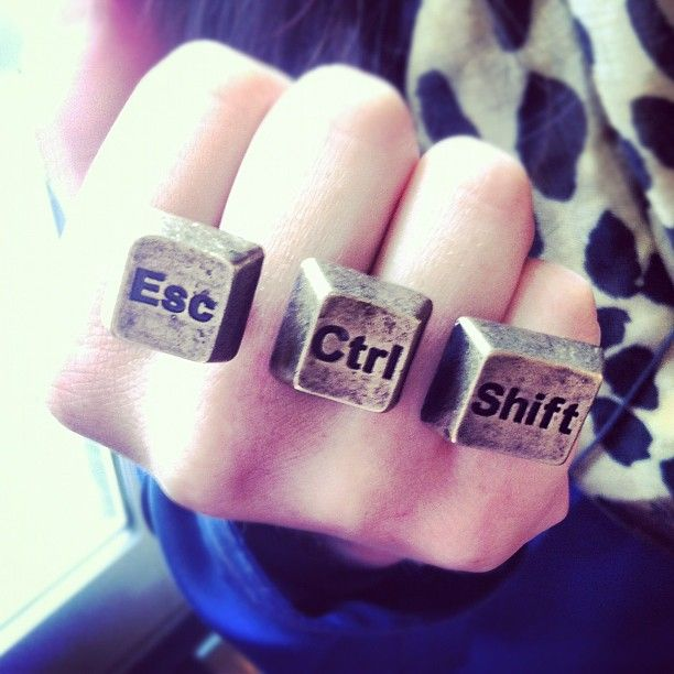 Randi Zuckerberg's ring of amazingness.  I want one that says Command instead of Ctrl ;)