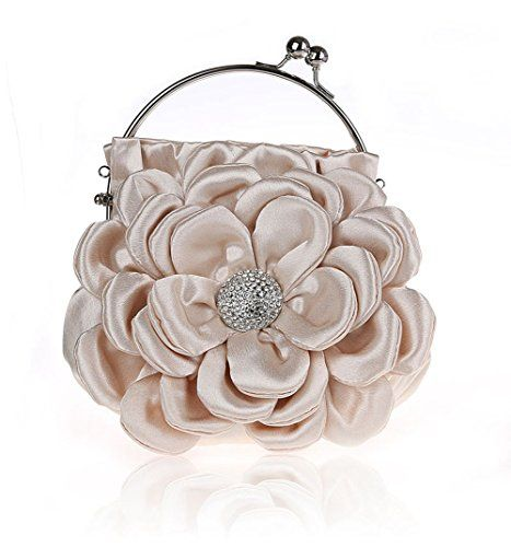 Floral Embellish Women's Satin Pleated Flower Front Evening Bag Clutch  Handbag (Apricot) **