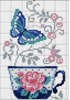 Xícara, flor, arabesco, borboleta, ponto cruz