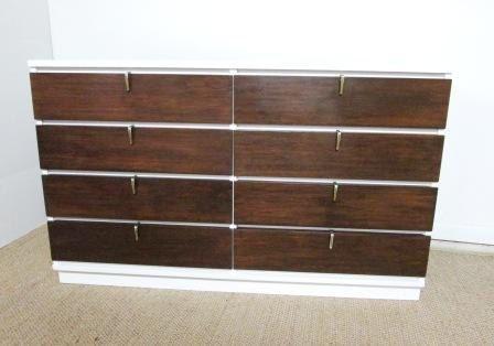 Long Dresser - Mid Century Johnson Carper Dresser Vintage Hardware 8 Drawers Retro Mod Furniture