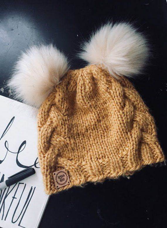 Hand Knit Hat Mustard Yellow Womens Hat - Beanie Gold double pom pom hat  Faux fur Pompom Hat Teen Wo 8f1f71754750