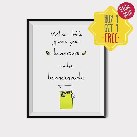 When life gives you lemons, Kitchen wall art, Printable lemon quote, Kitchen art prints, Citrus print, Scandinavian kitchen art, Lemon Print