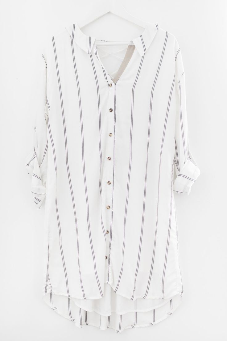 """- Collared striped button-up dress - Lace-up back detailing - Roll-up button sleeves - Semi sheer non-stretch woven material - Fully lined - Size small shortest length measures approx. 34"""" - 100% Visc"""