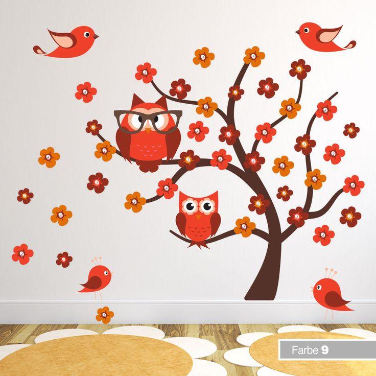 Fancy Wandtattoo Wandsticker Eulen Baum Blumen Owls Owltattoo