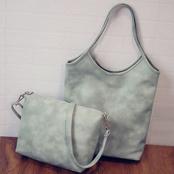 Laconic Solid Color and PU Leather Design Shoulder Bag For Women