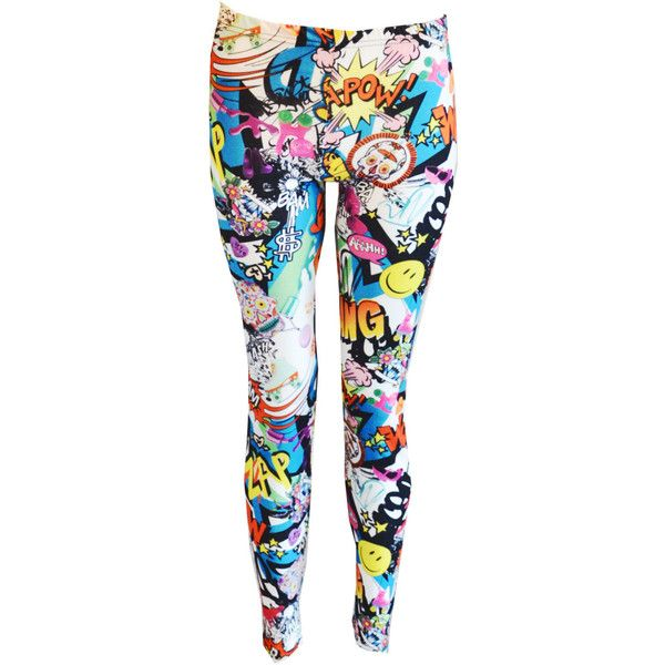 New Womens Comic Book Love Heart Graffiti Bang Zap Star Smile Batman... ($28) ❤ liked on Polyvore featuring pants, leggings, bottoms, batman, silver, women's clothing, heart pants, silver pants, star print leggings and star pants