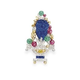 AN ART DECO DIAMOND AND MULTI-GEM BROOCH, BY J.E. CALDWELL & CO.  15000$