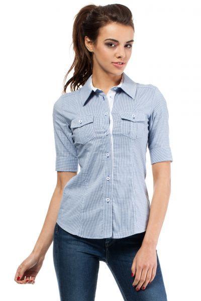 Blue shirt, women's vertical stripes