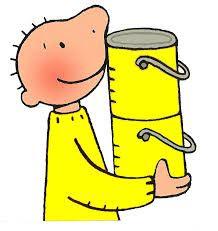 Jules met gele verfpotten.