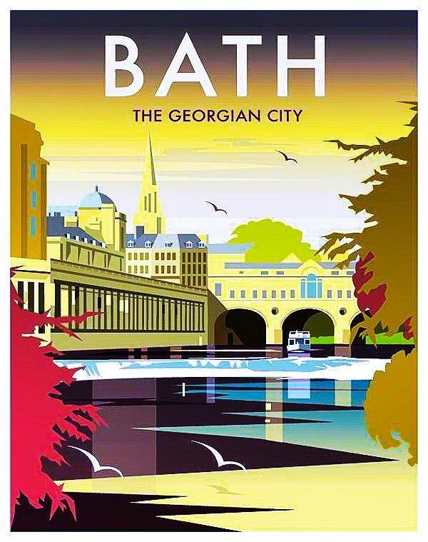 A3//A4 Size Bath The Georgian City Travel Railway VINTAGE Retro Print POSTER