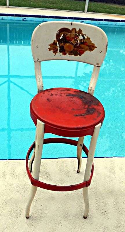 Vtg Antique 1950 S Red White Metal Kitchen Stool Chair Mid