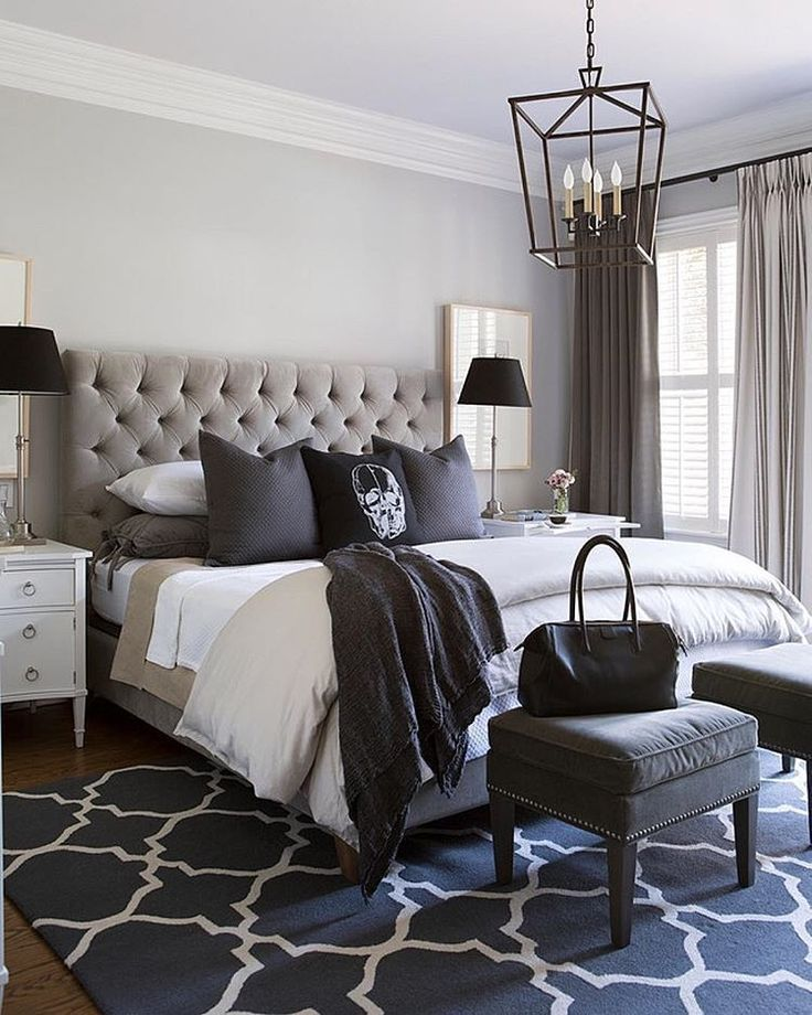 Black, white and every shade in between! Very cool bedroom by Sneller Custom...would like a different accent pillow