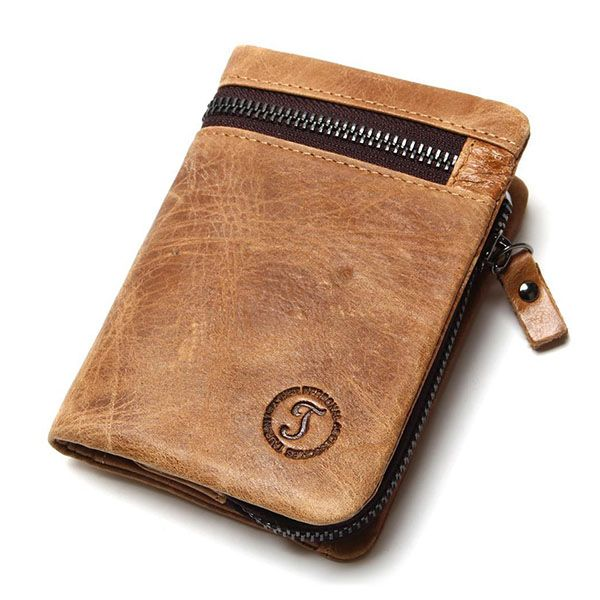 Sale 16% (26.6$) - Men Brown Leather Wallet Retro Style Coin Pocket Purse