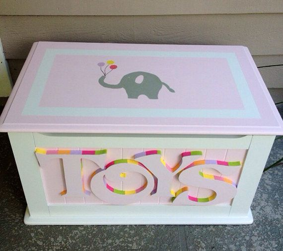 Cute elephant design! Custom Hand Painted Toy Chest by HeatherMow on Etsy, $280.00