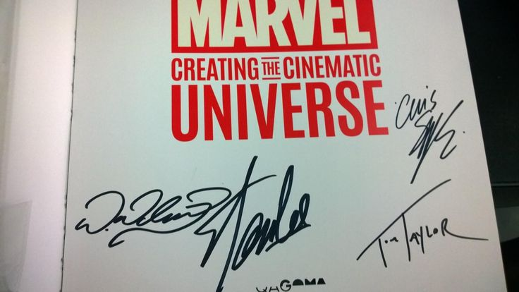 Today I got Stan Lee Chris Sprouse Tom Taylor and Wayne Nichols to sign my 65/100 MCU book. Going to see how many Marvel Writers Artists Actors Directors etc i can get to sign it.