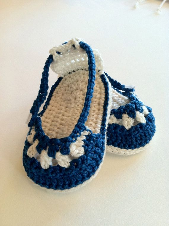 Crochet Pattern for Baby Booties & Headband, Nautical Sandals and Headband Set…