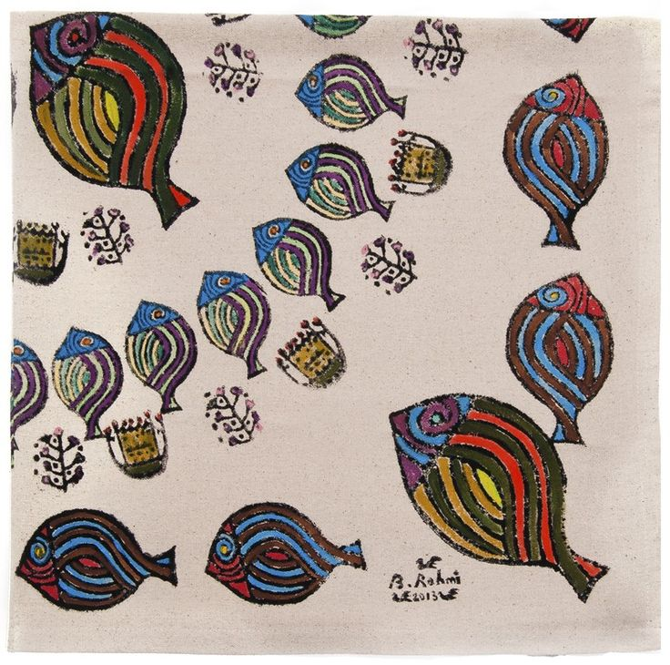Bedri Rahmi Table Cloth with Fish Patterns