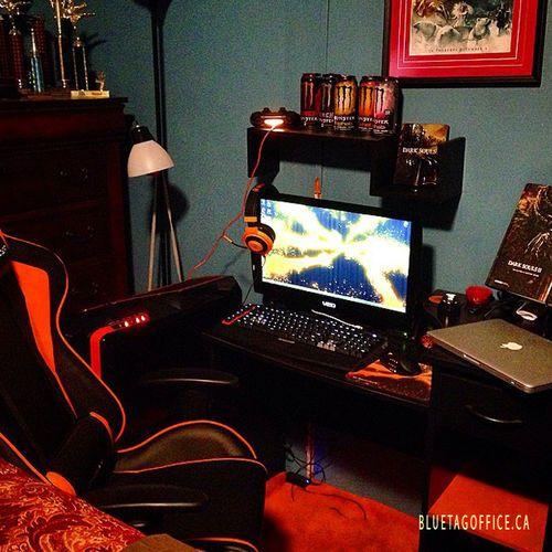 And here is my setup so far for my PC #pcmasterrace #gaming #setup #orange #PC #razer #monster #logitec #dxracer #macbookpro #hashstag #darksouls Source: instagram.com/dallasoxner