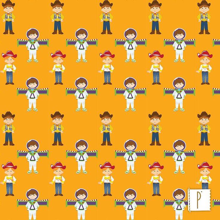 A estampa dos personagens de Toy Story disponível em diversos tecidos de algodão e poliéster. Confira em www.panolatras.com.br