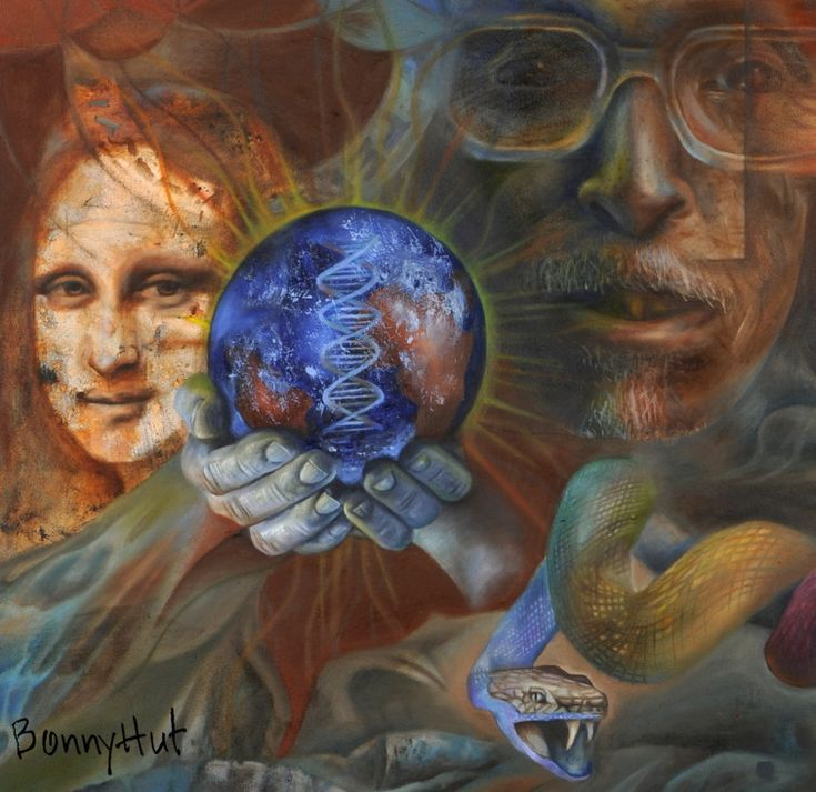 """This is a DETAIL of the oil painting by artist Bonny Hut called """"Call of the rainbow serpent."""" It has the Mona lisa behind hands holing the radiating earth with a dna spiral. The second portrait, the Indian man looks slightly like Gandhi at first glance (his head explodes with ideas in the full image) behind a multi coloured snake. There is actually a image of an actual crop circle above the mona lisa in the full painting."""