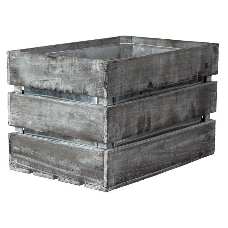 Trä/zinklåda Blågrå 3/4 41,5x28,5x25cm