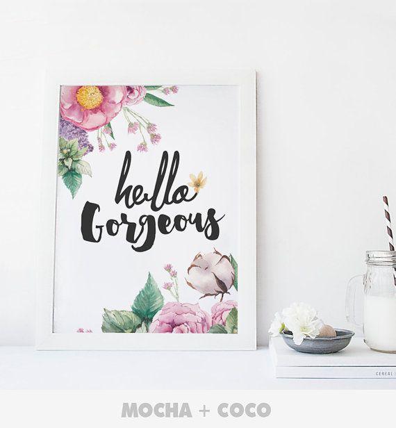 Hello Gorgeous Print Poster Feathers Kichen Print by MochaAndCoco