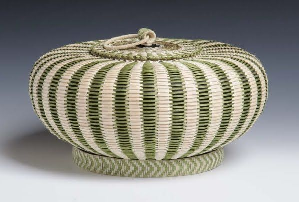 Jeremy Frey, Passamaquoddy (Wabanaki)  Green urchin basket, 2008  Brown ash, sweetgrass, dye