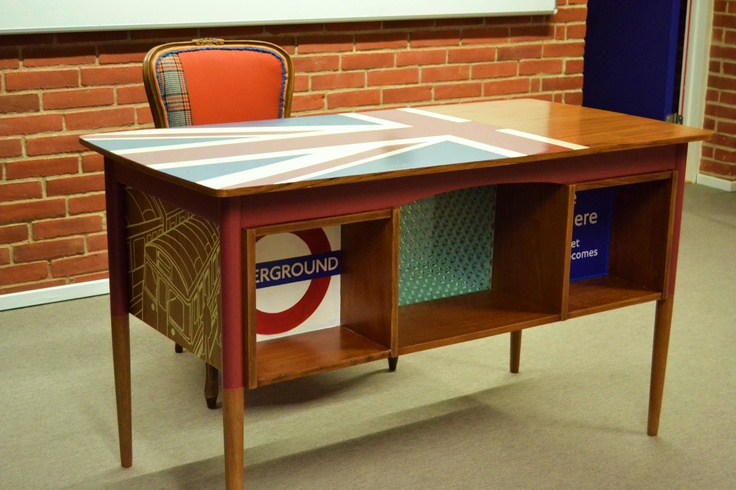 Danish teak desk. Redesigned with union jack and Underground signs