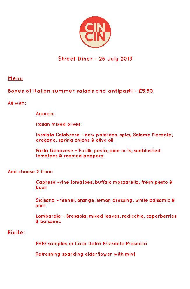 Cin Cin's menu for Street Diner in Brighton on 26th July 2013