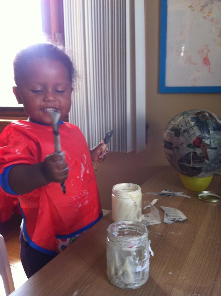 Paper mache sensory fun with DIY glue