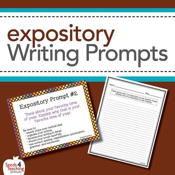 Expository Writing Prompts Task CardsThis will be the perfect addition to your Writing Block! Your download includes...20 Unique Expository Writing Prompts in three versions:Colorful Task Cards (numbered 1 -20)Individual Journal StripsFinal Draft Paper (with prompt included)Blank Writing PaperPrompts can be printed on cardstock, cut with a paper cutter, laminated and place in your writing center to be used over and over!