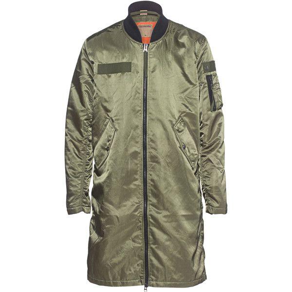 TRUE RELIGION Men´s Long Bomber Moss // Long bomber jacket (€299) found on Polyvore featuring men's fashion, men's clothing, men's outerwear, men's jackets, mens blouson jacket, mens bomber jacket, true religion mens jacket, mens jackets and mens utility jacket