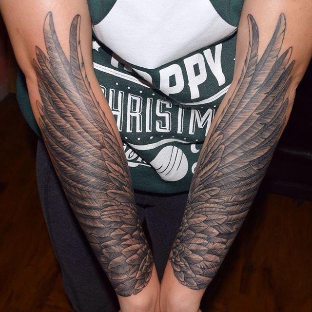 Custom Neotraditional forearm wings for Allison Thanks for looking #neotraditional #wingtattoo #custom #girlswithink #bodyart #bodymods #bodymodification #blackandgrey #tattooartist #mikejohnsontattoos #maddtatterz #nightmaresforsociety #riversidtattooartist #riverside #ca