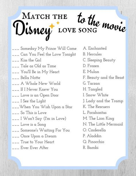 match the disney love song to the movie bridal shower game template cinderella blue
