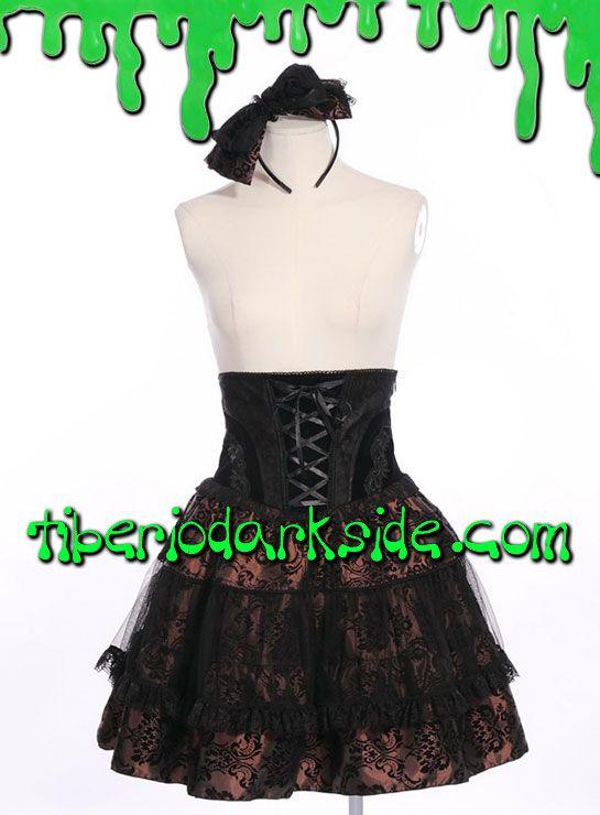PRECIO en Tiberio Dark Side 49,50€ (otras tiendas 57-76€)Falda lolita con cintura alta realizada en tejido brocado marrón con parte superior de terciopelo negro, ribete de encaje y volante de tul. Lazadas frontal y trasera. Cremallera lateral. Incluye diadema con lazo a juego. Composición: 100% polyester. Marca: RQ-BL Red Queen's Black Legion.COLOR: NEGRO/MARRÓNTALLAS: S, M, L, XL, XXLS - 63 a 67 cm cinturaM - 68 a 72 cm cinturaL - 73 a 77 cm cinturaXL - 78 a 82 cm cinturaXXL - 83 a 87 cm…