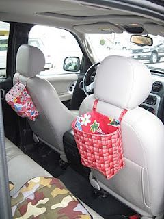 FREE project: Vehicle storage bags. I love this idea for a long road trip with the kids to keep their things organized.