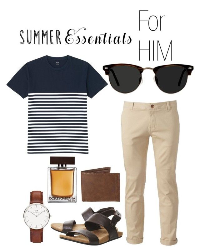 """""""Summer Essential for Him"""" by ratihasmarani on Polyvore featuring Chor, Uniqlo, TOMS, Ace, Levi's, Dolce&Gabbana, Daniel Wellington, men's fashion, menswear and Summer"""