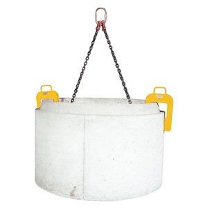 Concrete Manhole Housing Lifter, 10000Lb by Caldwell. $1960.43. Concrete Manhole Housing Lifter, Capacity 10000 Lbs., Pipe Diameter 92.5 In max, Pipe Wall Thickness 4 In to 6 In, Material Above the Bail Opening .75 In, Bail Opening Width 2.75 In, Bail Opening Height 5.50 In, Clamp Dimension 19 InH x 19 InW x 2-1/4 InD or 3 InD to Bolt, Headroom 35 In, Weight 131 Lbs., Complies with ASME Standards Concrete Housing LiftersUse for handling concrete manhole housings witho...
