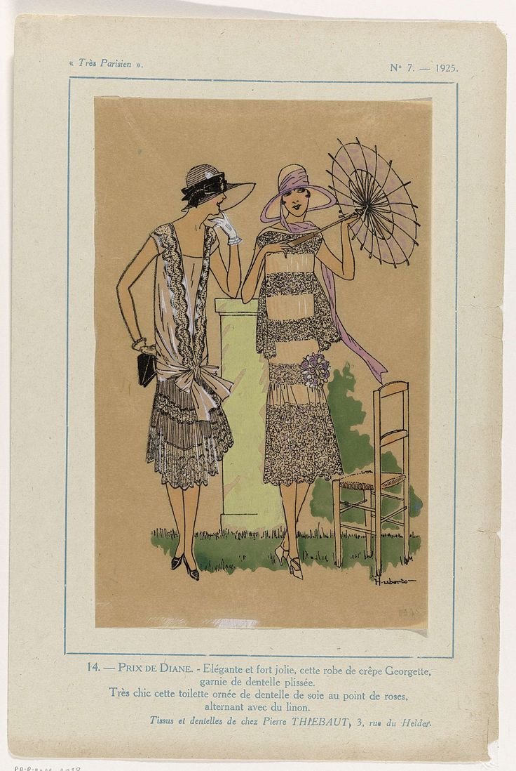 Anonymous | Très Parisien, 1925, No. 7 : 14.- PRIX DE DIANE. - Elégante et fort jolie..., Anonymous, Pierre Thiebaut, G-P. Joumard, 1925 | Jurk van crêpe Georgette, gegarneerd met geplisseerd kant. 'Toilette' versierd met 'dentelle de soie au point de roses' afgewisseld met linnen. Accessoires: hoed met luifel, hoed met brede rand, parasol, korte handschoenen, handtas(?), bloemcorsage, pumps. Stoffen en kant van Pierre Thiebaut. Prent uit het modetijdschrift Très Parisien (1920-1936).