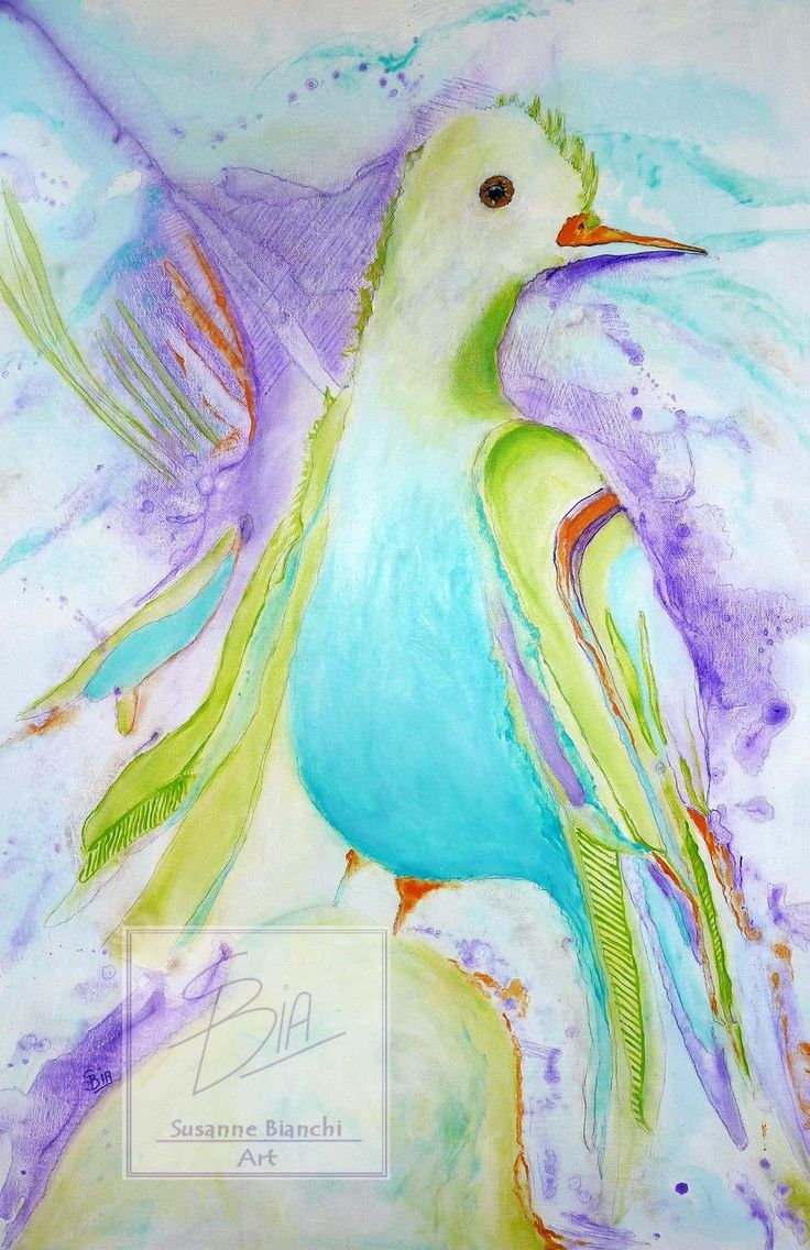 Abstract, beautiful bird in soft pastels of blue, turquoise and mauve, Print of Original Painting, Wall Art, Shelf Art, A3,A5,A4 Poster by ArtiSueBee on Etsy