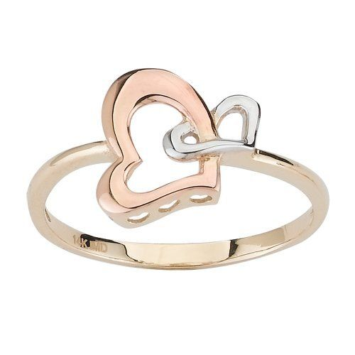 14k Tri-Color Gold Double Heart Ladies Ring, Size 7 Amazon Curated Collection. $144.00. Made in United States. Save 44% Off!