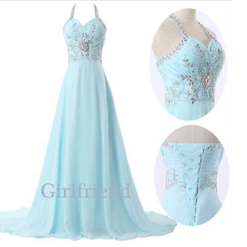 Elegant ice blue chiffon long beaded lady prom dress, graduation dress, evening dress from Girlfriend
