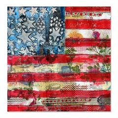 """Patriotic Spirit Shower Curtain  This painting pictures a whimsical American flag. You will be in the spirit with the red, white and blue! Designed by SchulmanArt  $64.50  Add some flair to your bathroom with a new shower curtain.      Comes in one size: 69"""" x 70""""      100% softened polyester      Standard size with 12 stitch-enforced eyelets for hanging      Shower rod, rings, or liner not included"""
