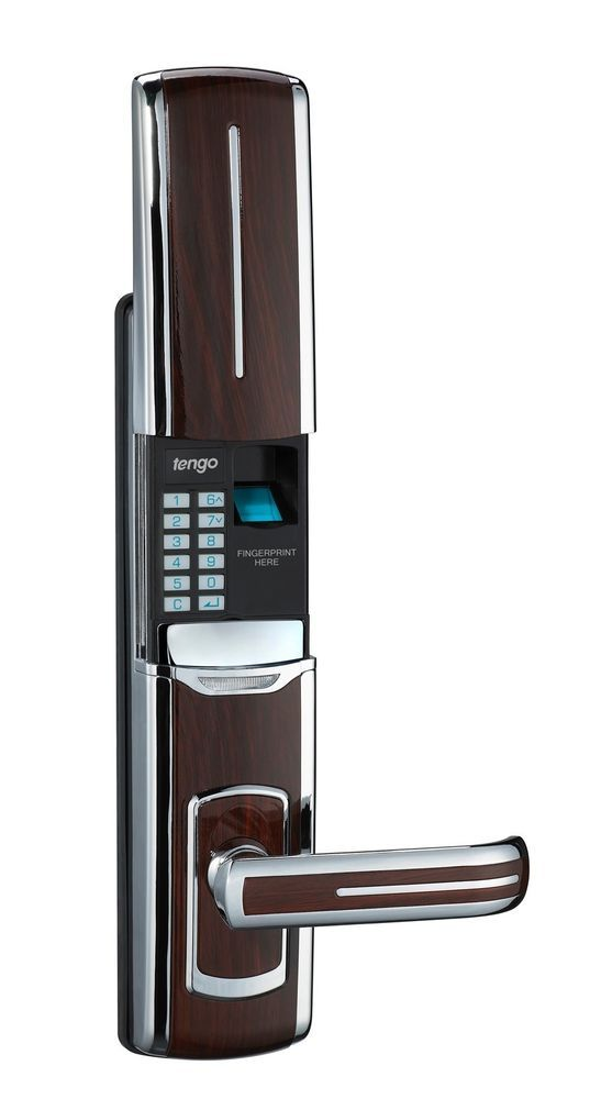 Brand New Biometric Fingerprint Door Lock + Digits Pad + Mechanical Key. This is a great way to eliminate need for keys and this is a clean and simple design that is hidden! Love it.