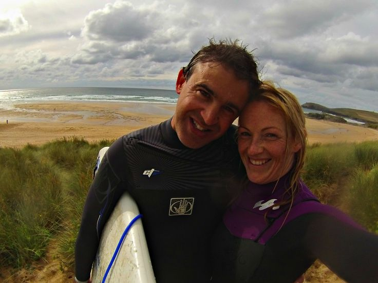 What better way to celebrate our engagement than a morning surf <3